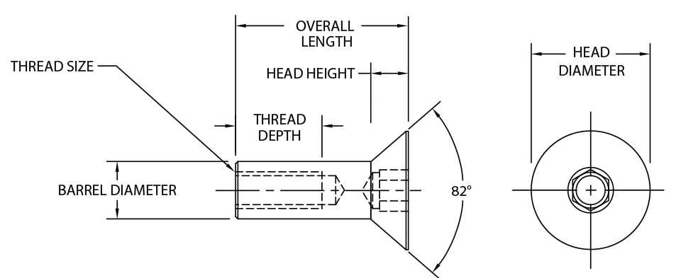 82 Deg Flat Head Socket Drive Barrel Bolt - Diagram