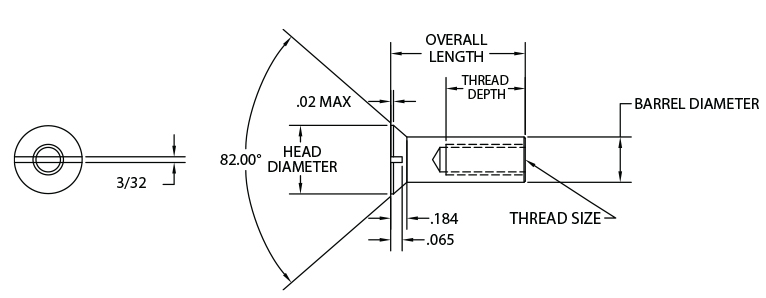 Slotted Head Sex Bolts - Slotted Flat - Diagram
