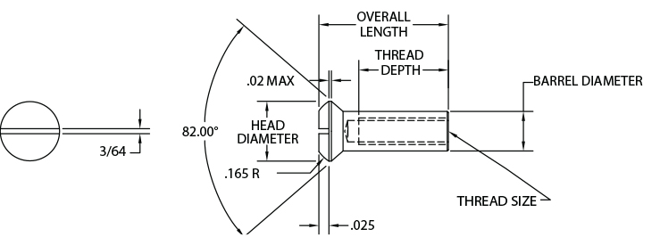 Slotted Head Sex Bolts - Slotted Oval - Diagram
